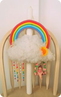Lumanare botez curcubeu