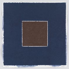 """Ellsworth Kelly. Colored Paper Image XX (Brown Square with Blue) from Colored Paper Images. 1976. Colored and pressed paper pulp. composition and sheet (irreg.): 31 11/16 x 30 11/16"""" (80.5 x 78cm). Gift of the artist. 41.1977.20. © 2016 Ellsworth Kelly. Drawings and Prints"""