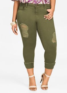 Cuffed Fray Cropped Skinny Pants Cuffed Fray Cropped Skinny Pants