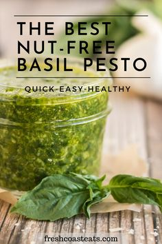 If you've been looking for the best nut-free pesto recipe, you have found the easiest 4 ingredient pesto recipe right here! Skip the nuts, not the flavor with this nut free pesto sauce. It is packed with flavor and full of garden fresh goodness. It's perfect on pasta, pizza, poultry and veggies. Everyone in your family will love it! This basil pesto is quick and easy to make, especially in a pinch. #pesto #basil #recipe #easy #nutfree Easy Summer Meals, Healthy Meals For Kids, Healthy Foods To Eat, Quick Easy Meals, Healthy Recipes, Meatless Recipes, Best Dinner Recipes, Spring Recipes, Winter Recipes