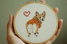 "Hand Embroidered Corgi Love. Custom 4"" Embroidery Hoop Art.  Hand Stitched Fiber Art.  Hand Made By Hoopla. on Etsy, $44.00"
