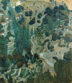 Spyros Papaloukas (Greek, 1892 - The Village of Kameno on Lesbos, N/D Oil on canvas Greece Painting, 10 Picture, Green Landscape, Landscape Paintings, Oil Paintings, New Art, Mythology, Oil On Canvas, Art For Kids