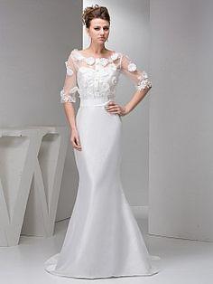 Mermaid Taffeta Wedding Gown with Half Sleeve Appliqued Top - USD $185.00