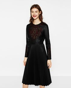 EMBROIDERED DRESS WITH PLEATED SKIRT-DRESSES-WOMAN | ZARA United States