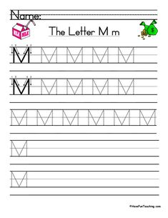 UsingLetter M Handwriting Practice Worksheet, students trace and then write the letter M in order build their Zaner-Bloser style print handwriting skills. Letter M Worksheets, Handwriting Practice Worksheets, Teacher Worksheets, School Worksheets, Printable Worksheets, Print Handwriting, Teaching Handwriting, Teaching Letters, Have Fun Teaching
