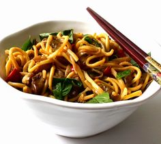 Spicy Eggplant-Basil Noodles