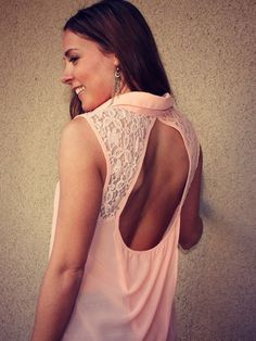 Lace Detail Open Back Blouse #pink #spring