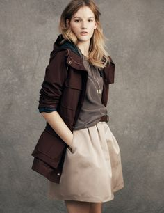 Madewell Penfield® Kasson Parka worn with the Silk Shirred top and the Cocktail skirt.