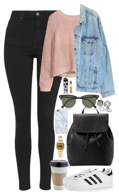 """Untitled #709"" by zarryalmighty ❤ liked on Polyvore featuring Topshop, H&M, Levi's, OUTRAGE, adidas Originals, MANGO, Ray-Ban, Uncommon, Pieces and Casio"