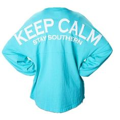 Keep Calm Long Sleeve Spirit Jersey ($43) ❤ liked on Polyvore