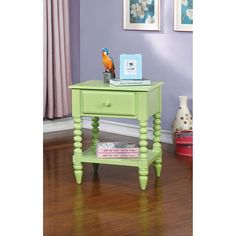 Lindsey Apple Green Night Stand - CM-AC323 Description : Add a fresh breath of color to any kid's bedroom with this modern single drawer nightstand. This structure is supported upon unique beaded legs