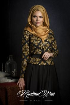 Muslima Wear Blouse  with black and golden pattern