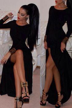 Black Celeb Fashion Long-sleeve Maxi Dress  @  Dressourself.com   ( #purple #dressy #zara #bridesmaid #maxi #dresses)