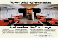 American Airlines New Coach Lounge, 1971 - Whatever happened to the Coach Class??