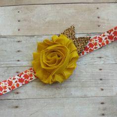 Fall Flower Headband, Autumn Flower Headband, Mustard Yellow Headband, Shabby Flower Headband, Glitter Flower Headband, Newborn Headband by ScarletMakenzie on Etsy