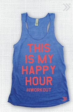 Eco Blue/Neon Coral This Is My Happy Hour Eco Tank by everfitte
