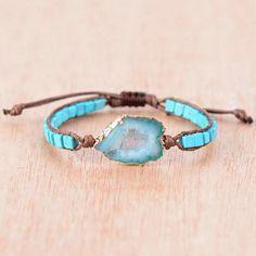 Handmade Druzy Bracelet in Blue Tones