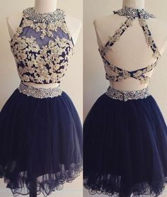 Dark blue tulle lace 2 pieces short prom dress, homecoming dress