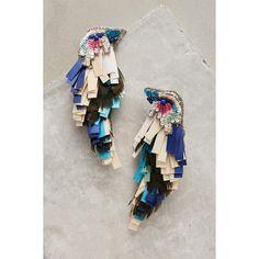 Mignonne Gavigan Tropical Bird Earrings (1.003.195 COP) ❤ liked on Polyvore featuring jewelry, earrings, blue motif, sequin jewelry, blue jewelry, feather earrings, sequin earrings and polish jewelry