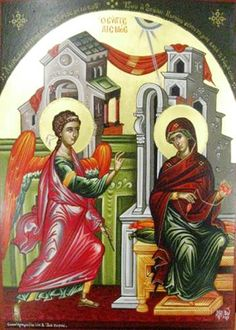 Eastern orthodox icon of the Annunciation of the Most Holy Theotokos, Panagia, Virgin Mary, the Mother of God Copy of an icon of 16 cent. by Theophanis the Cretan, from Stavronikita Monastery in Mount Athos. Archangels, Orthodox Icons, Annunciation, Jesus In The Temple, Byzantine Art, Painting, Art, Catholic Art, Art Icon