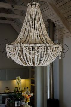 Home Lighting, Chandelier Lighting, Diy Luminaire, Beaded Chandelier, Shabby Chic, Lamp Shades, Decoration, Light Fixtures, Interior Decorating