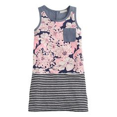 Girls' tank dress in chambray floral stripe