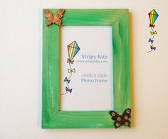 Wooden Picture Frame  Spring Butterfly Green Photo by StripyKite