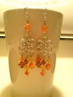 Chain mail flower earrings Swarovski gifts ladies by Tulealas, $45.00.  Love these.
