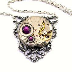 Steampunk Necklace - Gorgeous Vintage Clockwork Pendant  Amethyst Purple Swarovski Crystals - Steampunk Jewelry London Particulars via Etsy