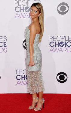 Sarah Hyland Wearing Christian Siriano at 2015 People's Choice Awards in Los Angeles