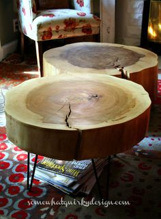 diy tables large tree slices wood, diy, home decor, repurposing upcycling…