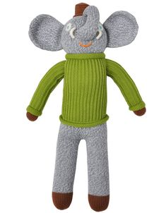 Buy Hercule the Elephant Mini Blabla Doll. Hercule the mini gray elephant weaves tales of far-off adventures in his dapper green turtleneck sweater & brown hat Green Turtleneck, Green Sweater, Knitted Dolls, Plush Dolls, Knitted Stuffed Animals, 1st Birthday Gifts, Baby Boutique, Hercules, Animals For Kids