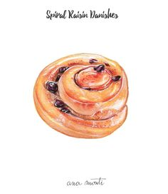 Spiral Raisin Danishes illustration - Ana Monti