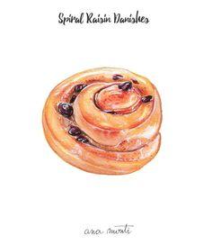 Spiral Raisin Danishes illustration - Ana Monti