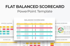 Flat Balanced Scorecard PowerPoint Template Ppt Template, Templates, Strategy Map, Slide Design, Dashboards, Coaching, Project Management, Color Themes, Diagram