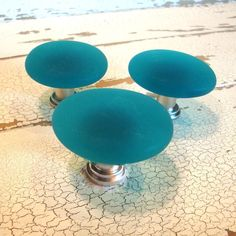 Teal Beach Glass Cabinet Knob Drawer Pull $11 - product images  of