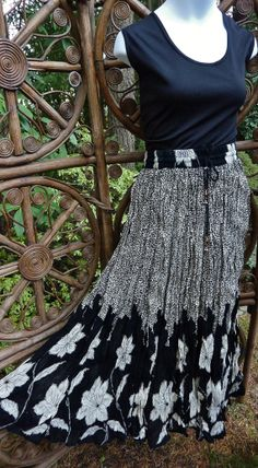 Black and ivory border print broomstick skirt  by LamplightGifts, $17.75