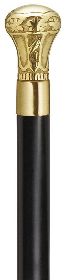Royal Brass Knob - Black Shaft Cane Regal brass knob with embossed etching mounted on a 1 inch black lacquered maple shaft, 36 inches long. Replacement tip #8039808. Made in the USA. 36 inches is the