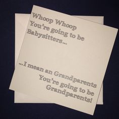 Grandparents - Whoop whoop You're going to be babysitters... Personalised Pregnancy Announcement Card by ItchyAvocado on Etsy #pregnancyannouncementtoparents,