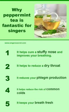 Peppermint tea is fantastic for singers. Find out which other drinks are good for your voice at www.singerssecret.com. #singing #singingtips #howtosing