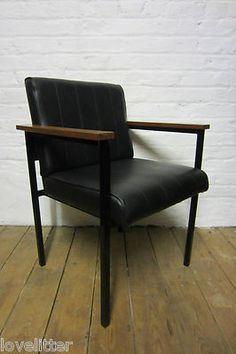 Vintage Retro 50s 60s Industrial Factory Vinyl Metal Wooden Armchair Desk Chair | eBay