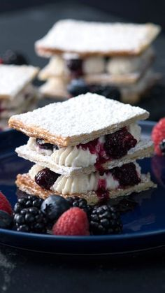 Recipe with video instructions: Layered between flaky sheets of pastry, rich mascarpone cream and mixed berries this Millefeuille is the perfect drool-worthy dessert. Ingredients: 1 frozen puff...