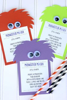Monster Party Invitations made with Cricut Explore -- Crazy Little Projects. #DesignSpaceStar Round 3