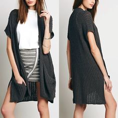 """•NWT• Free People 'Sloppy Pocket' Long Cardigan NWT! Chunky knit short-sleeve open cardigan that features roomy front pockets and a step hem with deep side vents. 87% cotton, 13% linen. About 33"""" long. Free People Sweaters Cardigans"""