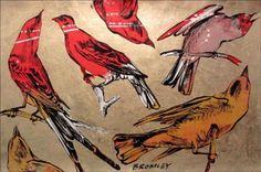 DAVID-BROMLEY-Birds-Polymer-and-Gold-Leaf-Painting-78cm-x-120cm-FRAMED