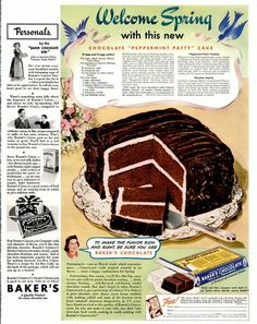 Welcome Spring! Here's a great Retro Advertisement from March 1941 for Chocolate Peppermint Patty Cake. Want to make Peppermint Patt. Retro Recipes, Old Recipes, Cookbook Recipes, Vintage Recipes, Sweet Recipes, Cake Recipes, Family Recipes, 1950s Recipes, Holiday Recipes