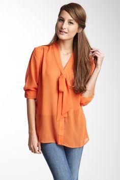 Sheer Bow Tie Blouse in Orange.