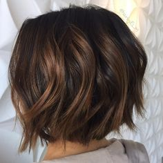Choppy Brunette Bob with Caramel Highlights