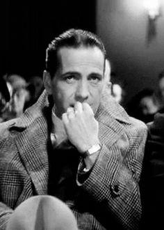 Humphrey Bogart Ulster plaid overcoat, rectangular dress watch