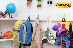 Command™ Hooks can help you encourage your kids to pick up after themselves and hang things up in their bedroom.